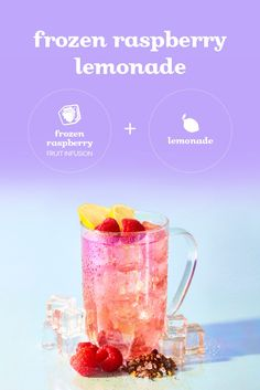 Our new berry-pink lemonade recipe is a simple: mix caffeine-free Frozen Raspberry tea and citrusy lemonade. Fruit Drinks, Cold Drinks, Pink Lemonade Recipes, Haut Routine, Tea Facts, Davids Tea, Tea Cocktails, Raspberry Lemonade, Bubble Tea