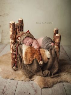 Image of Gorgeous, Hand Crafted, Rustic, Newborn Log Bed with Spindle Head Board