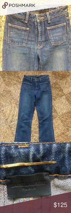 "Saint Laurent Paris jeans XS 25 or 26 Excellent preowned. 13"" flat w, 10 Rise, 18.5"" flat hip, 33 inseam. No stretch. No size tag. Leather Saint Lsurent Paris tag with gold snake chain. Gorgeous 70's rock band groupie style. Saint Laurent Jeans Flare & Wide Leg"