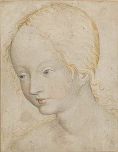 Head of a Woman, ca. 1405–10 Bohemia Watercolor on parchment laid down on secondary support