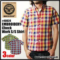 HOUSTON ヒューストン ワークシャツ エンブロイデリー チェック ワーク 半袖 シャツ #40024 メンズ ブロックチェック ボタンダウンシャツ【楽天市場】
