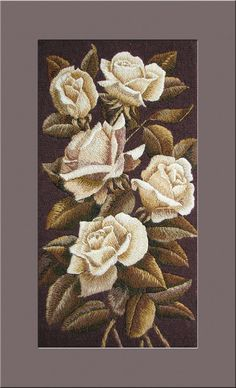 Hand Made Embroidery  Home Wall Decoration  Roses by NeedleWay