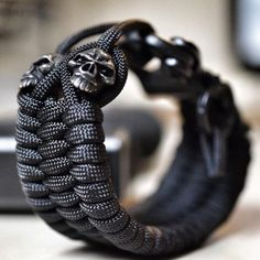"""The Punisher Wrist Piece. Available in-store online… Paracord Bracelets, Bracelets For Men, Jewelry Bracelets, Man Jewelry, Mens Jewellery, Men's Accessories, The Punisher, Mode Masculine, Ring Bracelet"