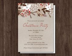 Rustic Red Winter Linen Christmas Party Invitations