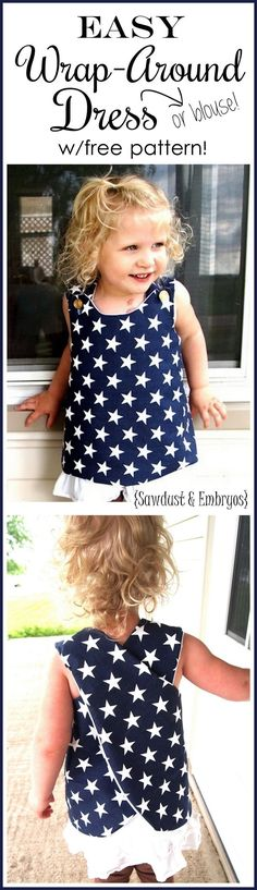 Suuuper simple wrap-around dress tutorial. Suuuper simple wrap-around dress tutorial… so cute for toddlers! includes FREE PATTERN {Sawdust and Embryos} Simple Dress For Girl, Simple Dresses, Sewing For Kids, Baby Sewing, Free Sewing, Sewing Clothes, Diy Clothes, Dress Clothes, Baby Outfits