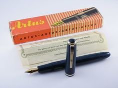 "Vintage ""C. Joseph Lamy Artus"" Fountain Pen-Turquoise-Box & Papers-Germany 1960s #Lamy"