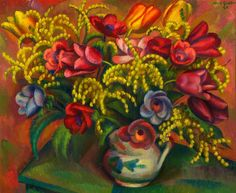 Tulips and Mimosa, 1929 by Mark Gertler (British 1891‑1939)
