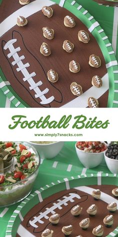Football Bites with Simply7 Hummus Roasted Garlic Chips. Enjoy these fun, simply delicious football bites on Game Day.  Recipe by 1FineCookie and Simply7.