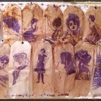 stamped tea bags - tea bag art - sachets de thé usagés tamponnés - The Artistic Stamper - Titbelsoeur Used Tea Bags, Sachets, Painting, Painting Art, Paintings, Painted Canvas, Drawings