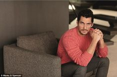 Blue Steel: David Gandy, wearing a fine coral cable knit, does his best Zoolander