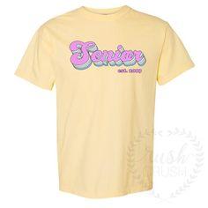 Senior Retro Tee, Comfort Colors Shirt, Senior Established Date Shirt School Spirit Wear, School Spirit Shirts, School Shirts, Shirt Print Design, Tee Design, Shirt Designs, Comfort Colors, Senior Overalls, Senior Sweatshirts