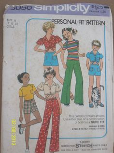 Vintage Simplicity 8050 Girls' Pants Shorts Tshirt by Bigwheel179, $2.00