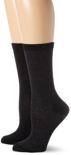 Ellen Tracy Women's 2 Pack Textured Swirl Motif Crew Socks $2.40
