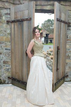 Sage taffeta bodice with embroidered putty taffeta skirt by Christine Trewinnard.