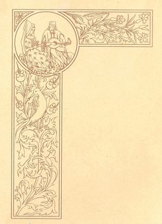le coloriste enlumineur - page border, illuminated manuscript, lute and florals sepia toned