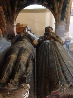 Trekking Wales - Offa's Dyke Round Trip and Glyndwr's Way 2015: Saint Nicholas church in Montgomery. Herbert effigy of Sir Richard and his wife Magdalen (Newport). 2nd cousin, once removed to William Herbert, 1st Earl of Pembroke; husband to Lady Anne (Parr).