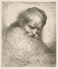 Giovanni Benedetto Castiglione (Il Grechetto) (Italian, 1609–1664). Bearded Old Man with his Head Leaning Forward, Wearing a Skullcap, Facing Right, late 1640s. The Metropolitan Museum of Art, New York. Purchase, Joseph Pulitzer Bequest, 1917 (17.50.17-61)