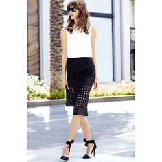 What the Buzz is About Black Pencil Skirt ($68) ❤ liked on Polyvore featuring skirts, black, black knee length skirt, elastic waist pencil skirt, see through skirt, sheer skirt y sheer pencil skirt