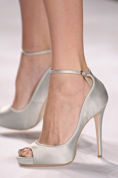 Badgley Mischka Spring 2013 - bride, bridal, wedding shoes, bridal shoes, wedding, bride shoes, satin shoes, silver shoes
