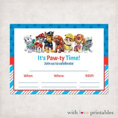 Printable Paw Patrol Fill in Blank Birthday Invitations | Custom ...