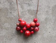 Red bib necklace bead necklace statement by LeafFeather on Etsy