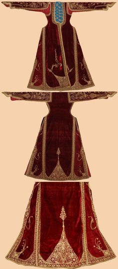 An old fashioned dress with red velvet cloth and golden embroidery.