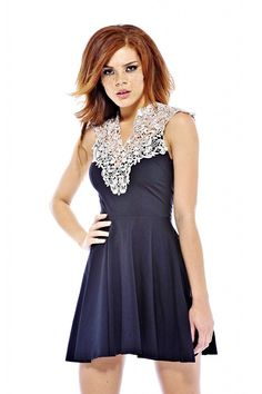 3f151e5ddb6 AxParis Women s Crochet Neck Skater Dress    To view further for this item