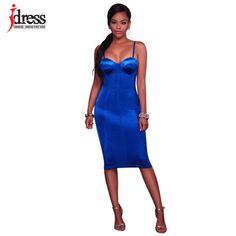 8514d76ea IDress Preto Azul Rosa Sutiã De Cetim Equipado Vestido das Mulheres Sexy na  altura do Joelho