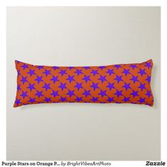 Shop Purple Stars on Orange Pattern Body Pillow created by BrightVibesArtPhoto. Orange Pattern, Orange Background, Colorful Pillows, Star Sky, Star Patterns, Star Shape, Vibrant Colors, Purple