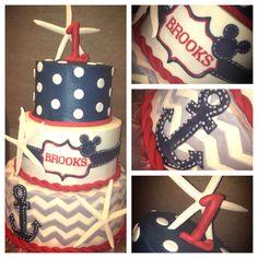 Mickey Mouse, nautical themed birthday cake.
