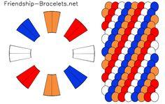 Een roodwitblauworanje #kumihimo armbandje vlechten met 16 draadjes doe je zo! #blog #werkbeschrijving #patroon