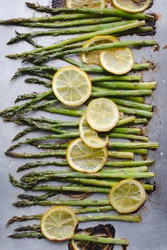 Roasted Asparagus and Lemon - perfectly simple and so delicious! The roasted lemon makes all the difference! This easy recipe is my favorite! Herbs De Provence Chicken, Vegetarian Recipes, Healthy Recipes, Healthy Foods, Protein Recipes, Healthy Eats, Delicious Recipes, Vegan Vegetarian, Yummy Food