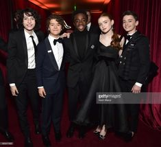 Finn Wolfhard, Gaten Matarazzo, Caleb McLaughlin, Sadie Sink and Noah Schnapp attend the Netflix Golden Globes after party at Waldorf Astoria Beverly Hills on January 7, 2018 in Beverly Hills, California.