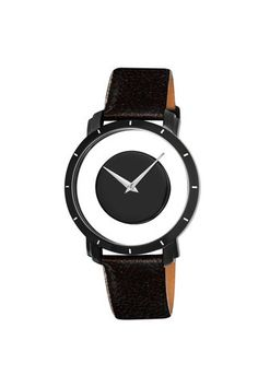 This striking, black-and-white watch with a leather strap is the perfect gift for any man or woman. This watch has silver hands and hour markers that sit on a black mirror dial. This unique watch will accessorize any formal or casual wardrobe. Casual Watches, Cool Watches, Watches For Men, Unique Watches, Wrist Watches, Men's Watches, Online Watch Store, Online Shopping, Jewelry Watches