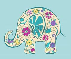 Blue elephant painted by flowers Poster Cartoon vector illustration Poster Poster. Elephant Bleu, Elephant Art, Cartoon Elephant, Baby Elephant, Elefante Hindu, Painted Rocks, Hand Painted, Painted Paper, Plant Drawing