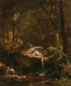 Albert Bierstadt The Mountain Brook painting, oil on canvas & frame; Albert Bierstadt The Mountain Brook is shipped worldwide, 60 days money back guarantee. Mountain Art, Mountain Brook, Forest Mountain, Mountain High, Landscape Art, Landscape Paintings, Forest Landscape, Art Paintings, Albert Bierstadt Paintings