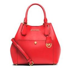 Michael Kors Greenwich Saffiano Leather Medium Red Satchels