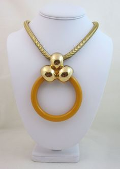 Huge Vintage 1971 Christian Dior Butterscotch Bakelite Necklace from gallery24jewelry on Ruby Lane