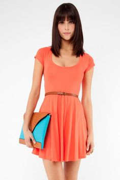 Criss Cross Back Dress in Coral $35 at