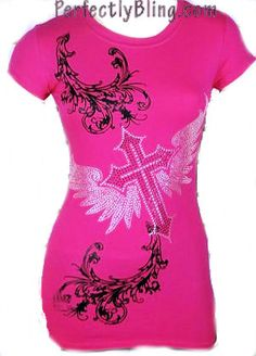 fashion tshirts with bling crosses | Hot Pink Rhinestone T Shirt Cross and Floral Damask