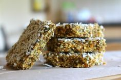 I love chia seeds so I was really excited to create this simple and quick Chia Seed Slice…. Lots of nutritional value and oh soooo yummy with a morning or an Healthy Eating Recipes, Healthy Desserts, Raw Food Recipes, My Recipes, Alkaline Recipes, Healthy Brownies, Alkaline Foods, Healthy Baking, Healthy Foods