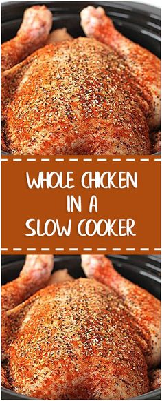 WHOLE CHICKEN IN A SLOW COOKER #chicken #slowcooker #whole30 #foodlover #homecooking #cooking #cookingtips