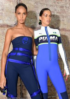 Joan Smalls and Adriana Lima backstage at Fenty x Puma SS18 fashion show during NYFW in New York