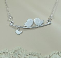 Baby Bird Family Necklace Sterling Chain Wire-wrapped Crystals or Pearls Kissing on Branch Love Expectant Mother Shower Mom Dad Child Tot. $28.00, via Etsy.