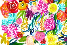 LARGE PRINT Colorful Floral Painting fabric by theartwerks on Spoonflower - custom fabric