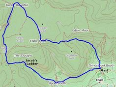 Kinder Scout Peak District Map of the walk Walking Map, Walking Routes, Walking Club, Abstract Photography, Nature Photography, Places To Travel, Places To Visit, Travel Destinations, Peak District England