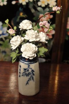 James Clark's Japanese Vase with White & Small Pink Roses by Carol Wagner Signed