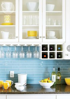 cool blue-gray kitchen a backsplash of blue-gray metro subway tile