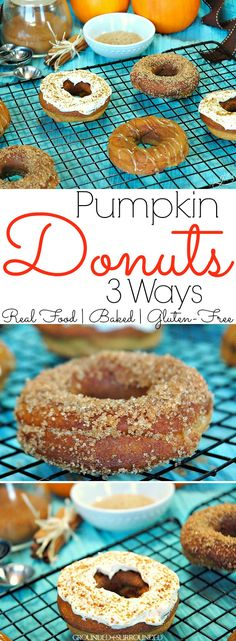 Purely Pumpkin Baked Donuts   How sweet it is to bake healthy, gluten free, and homemade donuts with all the flavors of fall! This cute seasonal breakfast recipe is packed with flavor, yet low in calories (no refined sugar). The best part about these skinny baked treats is that you can choose your favorite of 3 toppings recipes (coconut butter, Greek yogurt, cinnamon)! These are the best option for anyone choosing an easy clean eating or real food lifestyle!