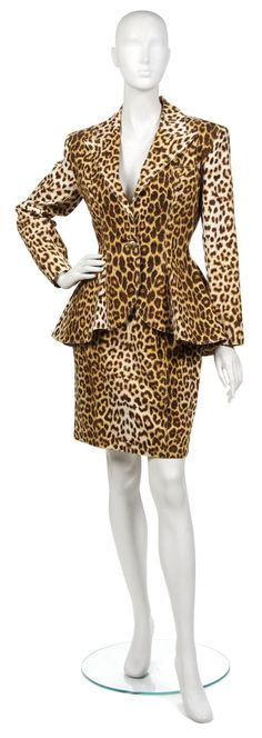 A Patrick Kelly Leopard Cotton Skirt Suit.